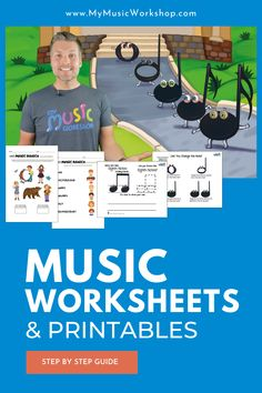 Music Worksheets & Printables   My Music Workshop offers 150+ music lessons, activities, downloads, worksheets, and more! Great for kids ages 4-10. Try it FREE for 7-Days! Online Music Lessons, Music Lessons For Kids, Music Lesson Plans, Music For Kids, Piano Lessons, Music Activities For Kids, Educational Websites For Kids, Stem Activities, Homeschool Kindergarten