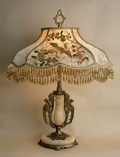 "~ Antique Table Lamp w/Parrot Motifs, and Alabaster Accent w/ Chinoiserie ""The Chinese Bird Garden Lampshade"" ~ nightshades.com"