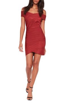 Missguided Off the Shoulder Bandage Minidress available at  Nordstrom Red  Bandage Dress 9f065656e