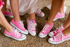Converse wedding #pink #white...girls would have purple and guys would have turquoise
