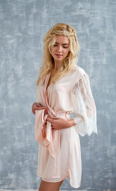 blush robe, blush bridal robe, short kimono robe, lace robe, bridesmaid robe, wedding robe, bridal robe. womens robe, Paula Style K1706b Robe, peach robe, lace robe, womens robe, satin robe, bridal robe, silk robe, short robe, bridal robe, bridal lingerie, honeymoon robe  FOR MORE REVIEWS VISIT OUR ANOTHER STORE ON ETSY - ANGELLURE - WEDDING VEILS AND HEADPIECES: https://www.etsy.com/shop/Angellure?ref=l2-shopheader-name  This blush color exquisite satin and delicate ...