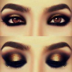 Gold smokey eye shadow