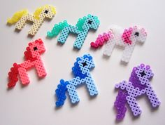 Cute Kawaii Pixel Ponies Perler Beads  Yellow Red door MangaSketch, $6,00