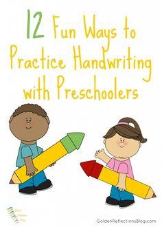 12 Fun Ways to Practice Handwriting with Preschoolers   www.GoldenReflectionsBlog.com