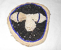 """Antique American Indian Beaded all Over Small Pouch Acorns White Black 4"""" 4 inch Keepsake Holder Relic by divebackintime on Etsy"""