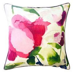 Crafted from a linen blend and featuring a polyester hollowfibre filling, this multi-coloured square cushion is designed with a floral pattern and a machine washable removable cover. Modern Cushions, Scatter Cushions, Throw Pillows, Bolster Cushions, Watercolor Effects, Watercolour, Cushion Filling, Pink Brand, Alcohol