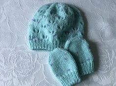 Hand Knitted Soft Turquoise and Purple Spot  Baby Hat and Mittens £3.99