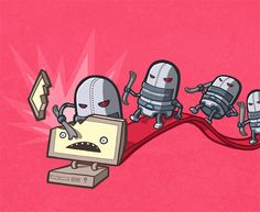 Robot attack - illustration by Nozzman - www.nozzman.com