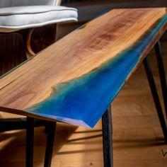 Narrow Walnut Side Table with Deep Blue Epoxy - Steel Welded Hairpin Legs Rustic Industrial, Rustic Modern, Wood Furniture, Modern Furniture, Walnut Table, Hairpin Legs, Patina Finish, Table Height, Epoxy
