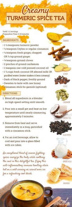 How to Make Turmeric Tea Part of Your Anti-Cancer Diet Turmeric Spice, Turmeric Tea, Peach Green Tea Lemonade, Homemade Iced Tea, Iced Tea Recipes, Latte Recipe, Healthy Drinks, Anticancer Diet, Caffeine