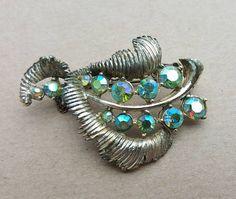 Vintage Blue Green AB Aurora Borealis Gold Tone Leaf Brooch