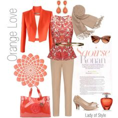 Orange Love | Lady of Style. Love this color combo...I could pair this color with my nude dress.