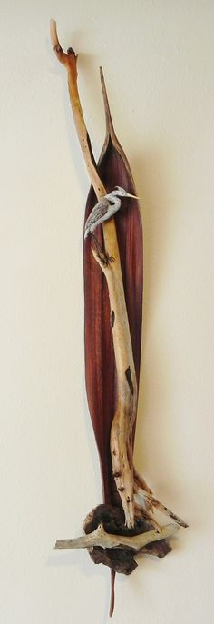 Heron on Watch - Palm Pod, Drift Wood and Paper Clay -This one SOLD Similar ones for sale for $295