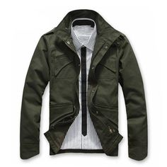 Fabric Material: Cotton        Closure Type:   Single Breasted, Zipper Fly  Collar: Stand Collar Clothing Length: Regular Fit Type: Slim Fit  Decoration: Buttons, Zippers   Thickness:   Standard    Color:     Green, Black, Red      Occasion:   Casual, Fashion   Season:   Spring, Autumn, Winter   Tag Size: L, XL, 2XL    Package included:   1* Jacket       Please Note:               1.Please see the Size Reference to find the correct size.