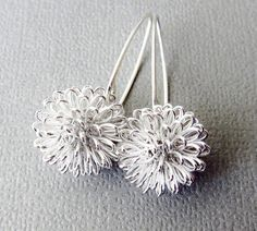 Silver Earrings Dhalia Wire Ball on Sterling Silver by CuteJewels, $25.00