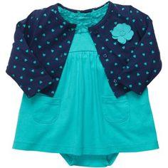 Carter's® Turquoise Dress and Cardigan Set - Girls newborn-24m