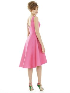 Alfred Sung Sateen Twill Short High-Low Skirt Bateau Neck - A Line, Bateau Alfred Sung Bridesmaid Dresses, Designer Bridesmaid Dresses, Wedding Bridesmaid Dresses, Bridesmaids, Palomino, Mojito, High Low Cocktail Dress, Hi Low Skirts, Girls Dresses