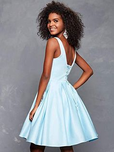 Clarisse 3613 Illusion Plunging V Neckline Fit and Flare Short Dress A Line Prom Dresses, Prom Dresses With Sleeves, Homecoming Dresses, Prom Gowns, Custom Dresses, Satin Dresses, Plus Size Party Dresses, Lace Corset, Fit And Flare