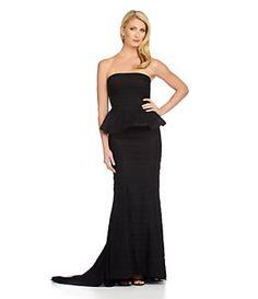 Adrianna Papell Strapless Shutter Peplum Gown | Dillard's Mobile
