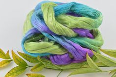 Mulberry Silk Roving Top Hand Dyed for spinning fibre felting