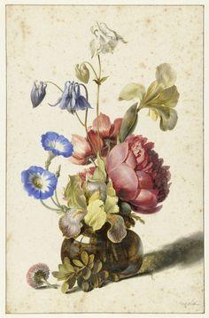Bloemen in fles, Dirck de Bray, 1674