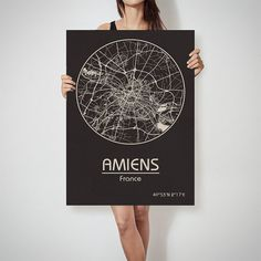 AMIENS France map City Street Map Art Print Poster by ArchTravel