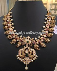 Pachi Necklace with Filigree Mangos India Jewelry, Temple Jewellery, Indian Wedding Jewelry, Bridal Jewelry, Indian Bridal, Gold Jewellery Design, Gold Jewelry, Antic Jewellery, Diamond Jewellery