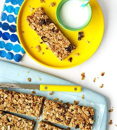 These gooey granola treats slip in dried fruit and whole grains for a healthy homemade #snack.
