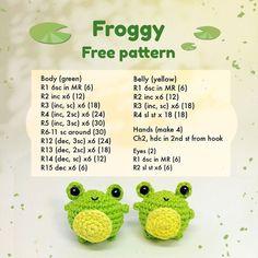 Crochet Kawaii, Crochet Frog, Crochet Diy, Crochet Crafts, Crochet Dolls, Crochet Projects, Crochet Stitch, Crochet Keychain Pattern, Crochet Amigurumi Free Patterns