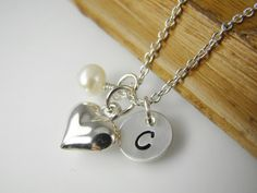 Flower Girl Heart Necklace Personalized Flower Girl Jewelry by ShinyLittleBlessings, $27.00