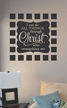 I can do all things through Christ who strengthens me Vinyl Wall Art Decal Sticker JS Artworks http://www.amazon.com/dp/B00N9GNIYW/ref=cm_sw_r_pi_dp_kXkeub0ZVC7TF