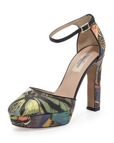 Butterfly Ankle-Wrap Platform Pump by Valentino at Bergdorf Goodman.