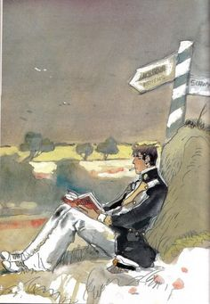 reading   (Hugo Pratt)