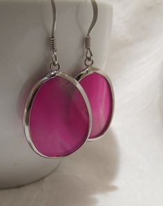 Silver Wrapped Oval Pink Stone Earrings with 925 Silver French Hooks. An Amazing Birthday Gift for Women or Any Girl