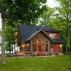 Image result for cabin exterior dark brown green