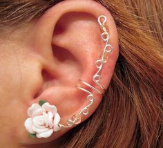 "Prom Ear Cuff ""Spring Rose""  Cartilage Cuff No Piercing Wedding Bridal No Piercing Helix Conch Color"