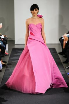Thai silk and tulle ball gown.  Beautiful asymmetry!   Vera Wang FW14 Dress 15