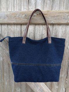 Denim tote bag handbag Boho recycled jeans distressed by BukiBuki