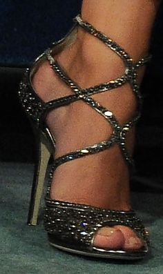 Rosie Huntington wearing sparkly Jimmy Choo's