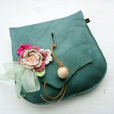 Handmade Leather clutch Purse Bag Jade leather by Fairysteps, £44.00