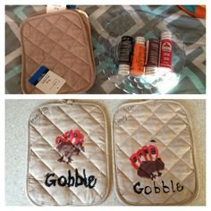 Today we made handprint Turkey hot pads for Thanksgiving- cute keepsake