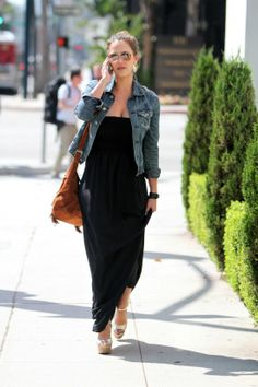 I love long, flowy dresses with the jean jacket. Jessica Alba in AG Adriano Goldschmied