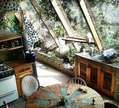 Earthship kitchen windows