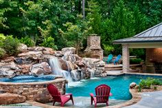 Our outdoor living spaces speak for themselves. Have a look at some examples of outdoor kitchens, fire pits, and swimming pools and see what you think. Paradise Pools, Pool Contractors, Pool Images, Waterfall Fountain, Custom Pools, Pool Builders, Dream Pools, Cool Pools, Outdoor Areas
