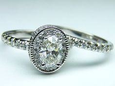 Oval Diamond Engagement Ring with double halo and diamond band and Matching Wedding Band - ES321MBS