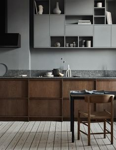 We have updated our site with new kitchen designs, like this dark stained oak kitchen, with limestone countertop and a bespoke asymmetric shelf. Home Decor Kitchen, Kitchen And Bath, Kitchen Furniture, Kitchen Interior, Home Kitchens, Kitchen Ideas, Wooden Kitchens, Nordic Kitchen, Coastal Interior