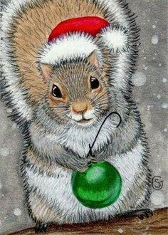 ACEO Squirrel Watercolor Original ART Christmas Ornament by Sherry Goeben Christmas Squirrel, Christmas Animals, Christmas Love, Christmas Pictures, Vintage Christmas, Christmas Ornament, Squirrel Art, Cute Squirrel, Squirrels
