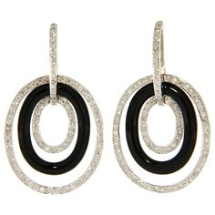 Onyx Diamond Gold Pendant Earrings | From a unique collection of vintage drop earrings at https://www.1stdibs.com/jewelry/earrings/drop-earrings/