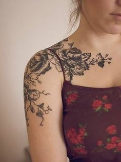 I love the idea of a floral shoulder/partially chest tattoo, they're so pretty