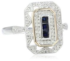 S&G Sterling Silver and 14k Yellow Gold, Blue Sapphire, and Diamond-Accent Art Deco-Style Ring (0.12 cttw, I-J Color, I3 Clarity), http://www.amazon.com/dp/B0043RTU4I/ref=cm_sw_r_pi_awdl_m7eUsb0D23JPN